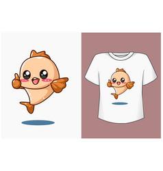 Mockup cute and happy bafish cartoon vector
