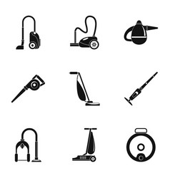 Modern carpet sweeper icon set simple style vector