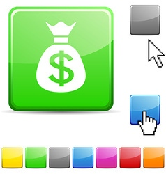 Money glossy button vector image