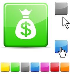 Money glossy button vector