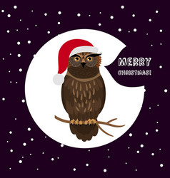 owl with santa hat card christmas card vector image