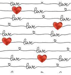 pattern for valentines day simple line seamless vector image
