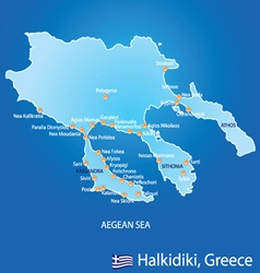 Peninsula of Halkidiki in Greece map vector image