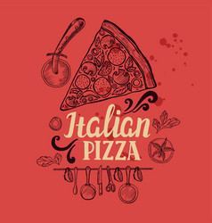 Pizza poster for restaurant and cafe vector