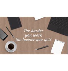 Realistic workplace table with quote vector