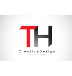 Red and black th t h letter logo design creative vector
