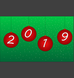 red christmas balls 2019 hanging on golden chains vector image