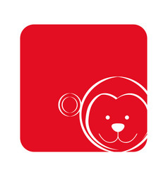 red square picture of monkey animal vector image