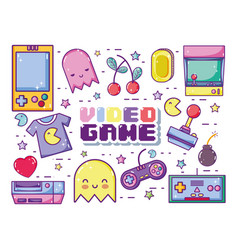 Retro videogames cartoons vector