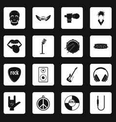 rock music icons set squares vector image