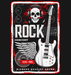 rock music poster skull guitar concert festival vector image