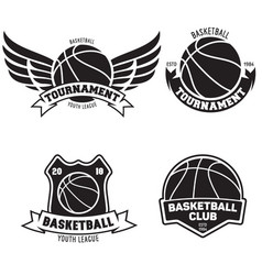 set basketball sport emblems design element vector image