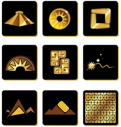Set elements in style gold incas vector