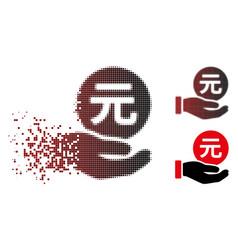 Shredded pixel halftone renminbi yuan coin payment vector