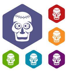 skull icons set hexagon vector image