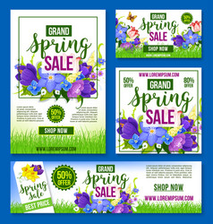 Spring sale flowers poster banner template vector