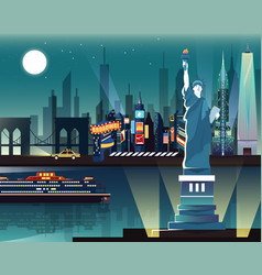 Statue of liberty and landmarks in new york city vector