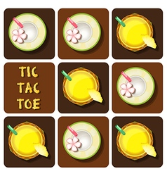 Tic-tac-toe pineapple juice and coconut water vector
