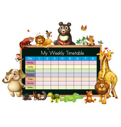 Timetable template with many animals on white vector