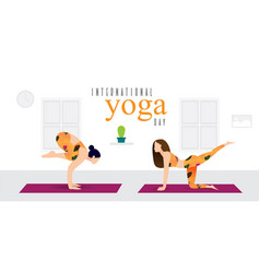 Two girls doing yoga exercises vector