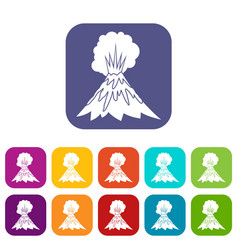 volcano erupting icons set vector image