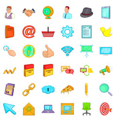 Work time icons set cartoon style vector
