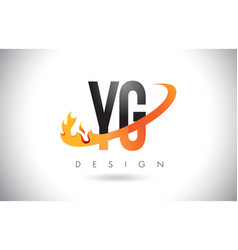 yg y g letter logo with fire flames design and vector image