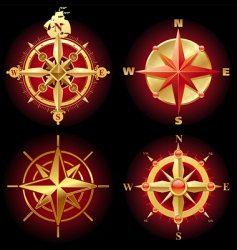 ancient golden compass rose vector image vector image