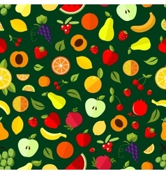 Fresh berry and fruit seamless pattern vector image vector image