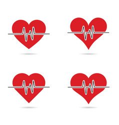 heartbeat set in red color vector image