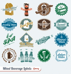 Mixed Collection of Beverages Labels vector image vector image
