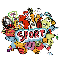 sports hand draw icon and elements in one vector image