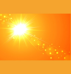 sun and lens flare yellow background vector image vector image