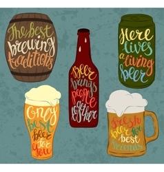 Barrel of beer and can bottle pint glassware vector