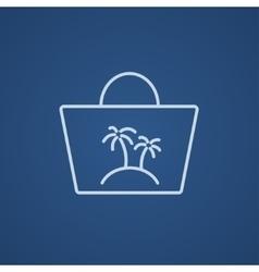 Beach bag line icon vector image