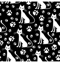 cat pattern white vector image vector image