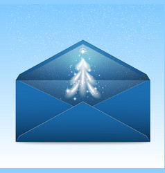 new year blue envelope with stars and blizzard vector image