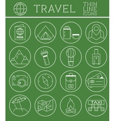 Outlined Holidays and Travels Icon Set Collection vector image