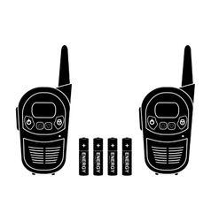 Portable radio set black silhouette vector