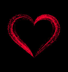 red stylized heart on black vector image vector image