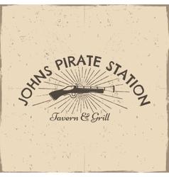 Vintage pistol label pirate poster old vector