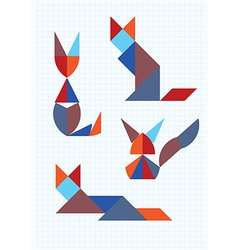 cats in different poses tangram vector image