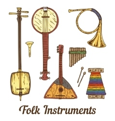 Folk Musical Instruments vector image vector image