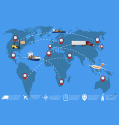 global network of commercial cargo transportation vector image vector image
