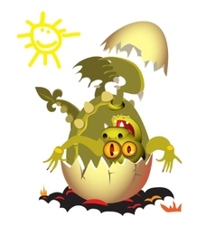 Little Dragon which is born from an egg vector image vector image