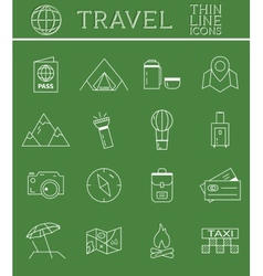 Outlined Holidays and Travels Icon Set Collection vector image vector image