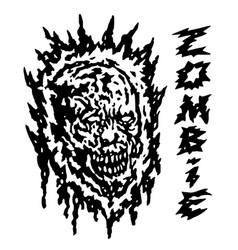 creepy demon head vector image vector image