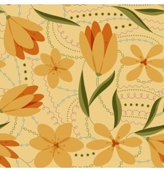 Crocuses seamless pattern yellow retro vector image vector image