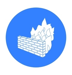 Firewall icon in outline style isolated on white vector image