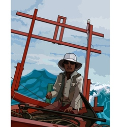 man in the national Asian boat at sea vector image vector image